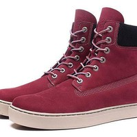 PEAP8KY Timberland Rhubarb Boots 6867R Wine Red Waterproof Martin Boots