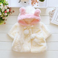 Baby Girl's Princess Coat Top Kids Jacket Infant Clothes Velour Fabric Lovely Bow Hoodies Cotton bebe Newborn Outerwear