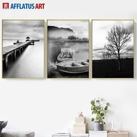 Bridge Tree Ship Landscape Wall Art Canvas Posters And Prints Canvas Painting Nordic Poster Wall Pictures For Living Room Decor