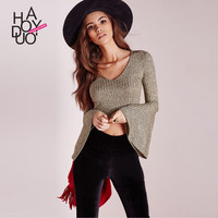 Haoduoyi Punk style loose V-neck Crop top Women flare long sleeve knitting T-shirt