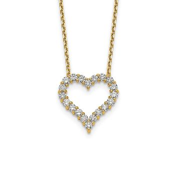 14K Yellow Gold Real Diamond Heart 18 inch Necklace