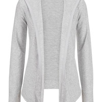 Long Sleeve Open Front Hooded Cardigan - Gray
