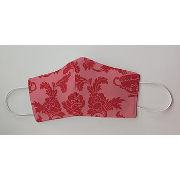 Red Damask Decorative Face Mask