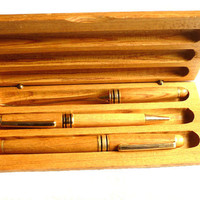 Pen set in wood case, Set of wood pens, Wooden Box set of  Fountain pen, ballpoint pen, letter opener, Father's day gift, Collectables pens
