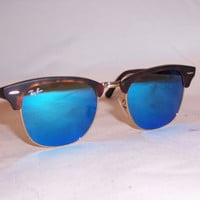 NEW RAY BAN Sunglasses CLUBMASTER 3016 114517 HAVANA/BLUE MIRROR 51MM AUTHENTIC
