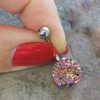 Sparkly Pink and Gold Druzy Belly Button Jewelry Ring