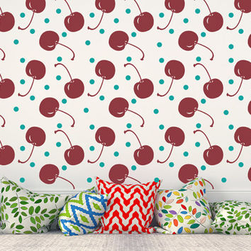Cherry Wall Decal, Cherries Wall Decal, Polka Dot Decals, Colorful Wall Art, Fruit Decal, Summer Wall Decor, Dorm Decor, Apartment Decor