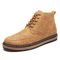Men's Brogue Carved Microfiber Leather Flat Lace Up Ankle Boots