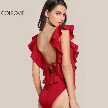 COLROVIE Flounce V Neck Red Bodysuit Tied Low Backless Sexy Sweet Ladies Bodysuits Women Cute Cap Sleeve Basic Bodysuit