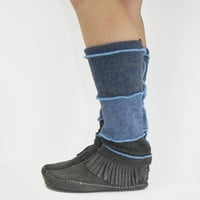 Grunge Leg Warmers in Dark Cloud Blues and Grey - Upcycled Wool Sweaters