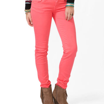 FOREVER 21 Colored Skinny Jeans Coral 30