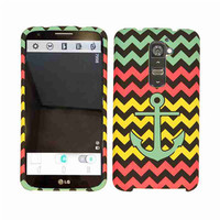 Unlimited Cellular Snap-On Protector Case for LG G2 (Green Anchor on Pink/Yellow Chevron)