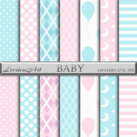 "Baby digital paper: ""Baby"" with pink and blue paper, baby patterns, Instant Download"