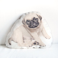 "Pug Puppy Pillow – Funny and Cute Pug Dog, Pet Lover Gift, Natural Linen Cushion, 17,3"" x 12,6"""