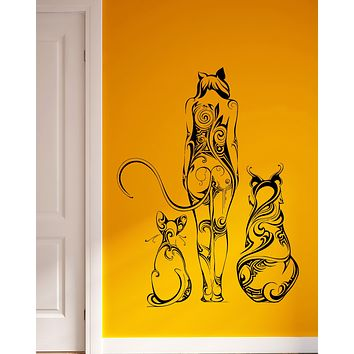 Wall Vinyl Sticker Decal Girl Cat Tail Animal Ears Pretty Wild Abstract Unique Gift (ed414)
