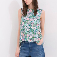 Green Floral Sleeveless Top