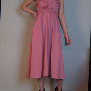 Vintage 70s RUCHED CHAMPAGNE HALTER Pink Bustier Pleated Backless Spaghetti Strap Party Evening Midi Dress xxs xs xs/s 1970s
