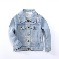 Kids Clothes Denim Jackets for Baby Girls 2 3 4 5 6 7 8 Years Embroidered Girl Coat  Spring Summer Fashion 2-8Y Children Jacket