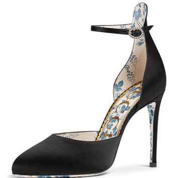 Gucci Daisy 105mm Satin Ankle-Strap dOrsay Pump