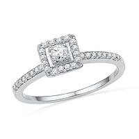 10kt White Gold Womens Round Diamond Solitaire Square Halo Bridal Engagement Ring 1/4 Cttw 100751