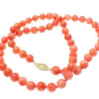 GENUINE NATURAL NOT ENHANCED PINK CORAL BEAD STRAND NECKLACE 14K GOLD CLASP
