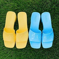 G GG slippers summer new open-toed thick heel mid-heel slippers increase one-word drag and wear sandals Shoes Yellow