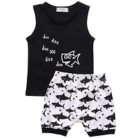New 2017 summer baby boy clothes fashion cotton Sleeveless Tank Top+Fish Printed Shorts baby boys clothing set infant 2pcs suit