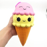 Super Jumbo Ice Cream Squishy Cute Face Slow Rising Scented Soft PU Squishies Kawaii Pendant Bread Kids Gift Stress Relief Toy