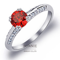 Lovers valentine day gift ring silver stainless steel white red yellow crystal diamond rings women wedding rings jewelry SR0659