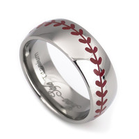Baseball laser titanium wedding rings for men- 8mm