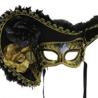 RedSkyTrader - Black and Gold Female Masquerade Ball Pirate Mask - Venetian - One Size fits Most - Black