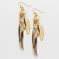 Feather Leaf Tribal Earrings Teal & Red