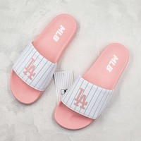 MLB Sliders Sandals New York Yankees Slippers Summer Shoes Pink White Flip Flop - Best Deal Online