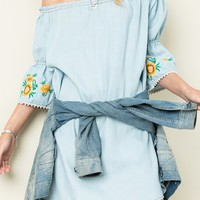 Daisy Embroidered Sleeve Off the Shoulder Denim Dress