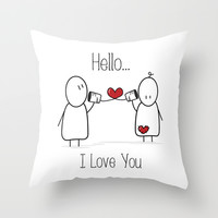 Hello I Love You Throw Pillow by Digi Treats 2