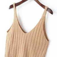 V Neck Knit Khaki Cami Top -SheIn(Sheinside)