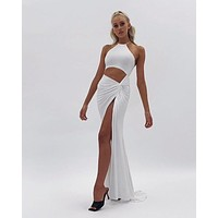fhotwinter19 Explosive Women's Sexy Fashion Halter Hollow Strap Long Skirt