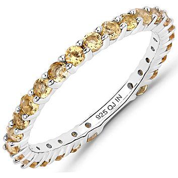 A Natural Round Brilliant Cut Yellow Citrine Full Eternity Ring