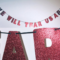 JOY DIVISION Glitter Banner Wall Decoration Garland - Sparkly Red - Love Will Tear Us Apart - More colors available