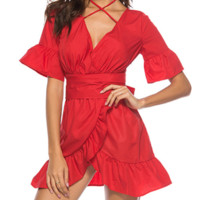 New women's dress wrap waist sexy straps women's ruffled skirt