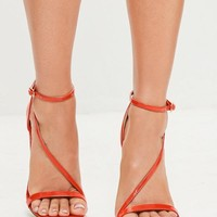 Missguided - Red Asymmetric Strappy Sandals