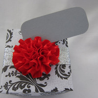 Wedding favor gift box - Wedding place card holder - gift box - handmade - paper - wedding - red - black - silver