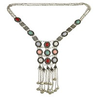 Women Boho Turquoise Necklace Retro Ethnic Long Section Tassel Sweater Chain Accessories
