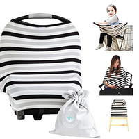 Baby Car Seat Cover Canopy   Nursing Cover (Multi-Use 4-1 Stretchy) Infinity Nursing Scarf   Grocery Shopping Cart Cover   High Chair Covers (Black Grey Stripe) Unisex Baby Shower Gift
