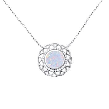 Sterling Silver White Created Opal and CZ Halo Floral-Style Necklace