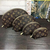 LV Louis Vuitton Womens Full-printed Letter Four-piece Cosmetic Bag Accessories Travel Storage-4