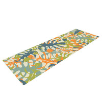 "Julia Grifol ""Summer Tropical Leaves"" Green Orange Yoga Mat"
