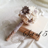 SET OF 5 Small cream rustic wedding BOUQUETS Ivory Flowers, Burlap Handle, Flower girl, Bridesmaids, sola roses vintage wedding small toss