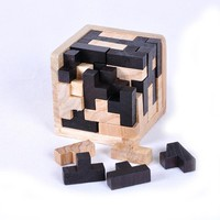 2 Functions Blocks + Cube Wood Jigsaw Toy Kids 3D Russia Intelligence Development Kid's Toy Wooden Toy Tangram Up 3 Years