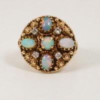 Opal & Diamond 14k Ring Victorian Estate Find Size 6 ITEM CM507H